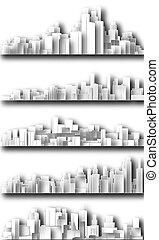 stad, utklippsfigur, skylines