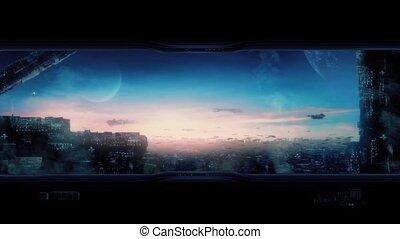 stad, van, de toekomst, met, vliegen, auto's