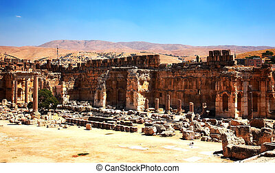 stad, van, jupiter's, tempel, baalbek, libanon