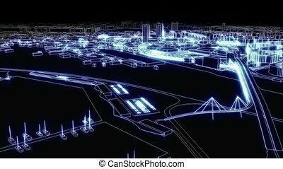 stad, van licht