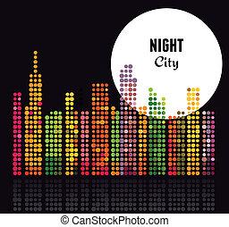 stad, vector, -, achtergrond, nacht