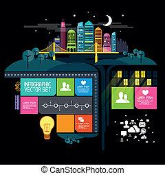 stad, vector, illustratie, nacht