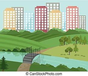 stad, vector, landscape, brug