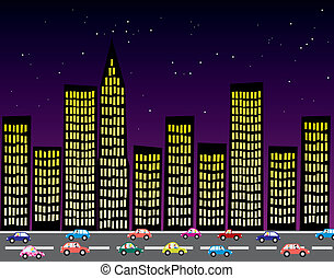 stad, vector, nacht