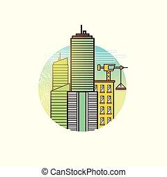 stad, vector, ontwikkelen