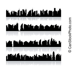 stad, vector, set, silhouettes.