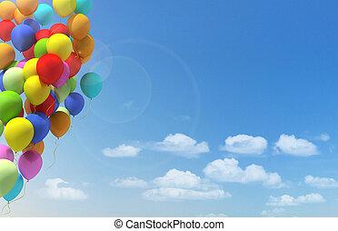 stad, veelkleurig, ballons, festival.