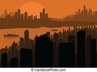 stad, vektor, bakgrund