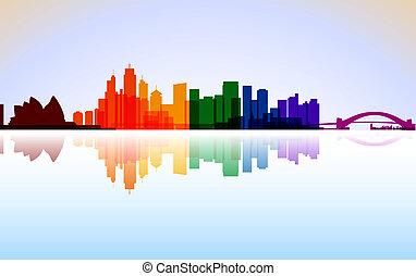stad, vektor, färgrik, sydney, panorama