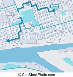 stad, vektor, navigation, karta