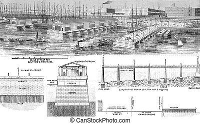 stad, verbeterde, voorgesteld, york, wharfage, voorkant, nieuw, aanlegsteigers