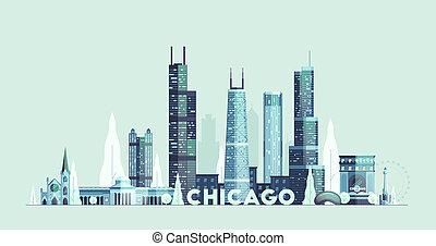 stad, verenigd, chicago, staten, skyline, vector, getrokken