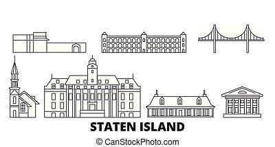 stad, verenigd, schets, illustratie, staten, reizen,...