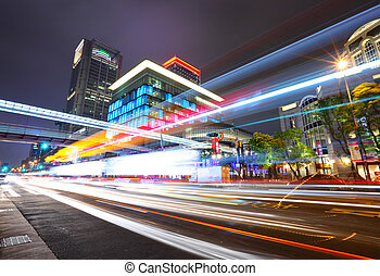 stad verkeer, taipei, nacht