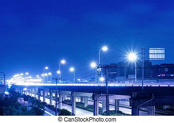 stad, viaduct, scène, straat, nacht