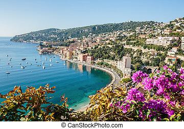 stad, villefranche-sur, d'azur, panoramisch, cote, aanzicht