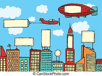 stad, visuell, annonsering, /, förorening