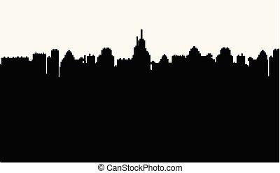 stad, vit, silhuett, bakgrund, svart