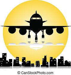 stad, vliegtuig, onder