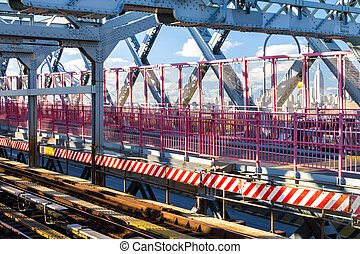 stad, voetspooren, york, nieuw, williamsburg brug, metro, walkway