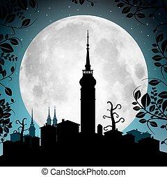 stad, volle, silhouette, -, illustratie, maan, huisen, vector, toren