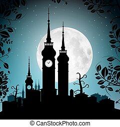 stad, volle, silhouette, torens, -, illustratie, maan, huisen, vector, cityscape