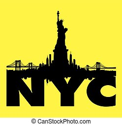 stad, vrijheid, skyline, vector, gele, standbeeld, new york
