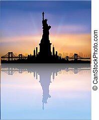 stad, vrijheid, skyline, vector, york, standbeeld, nieuw