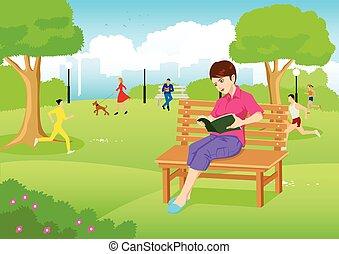 stad, vrouw, park, boek, lezende