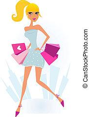 stad, vrouw winkelen