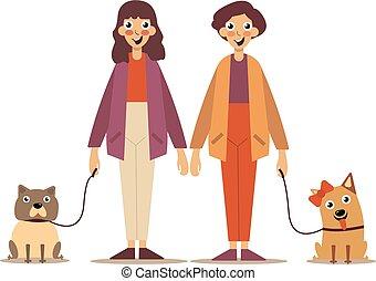 stad, wandelende, paar, jonge, hun, straat, verticaal, honden