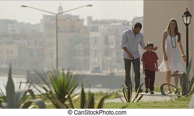 stad, wandelende, park, gezin, vrolijke