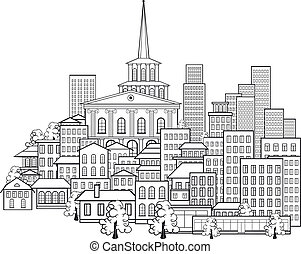 stad, weinig, kleine, straten