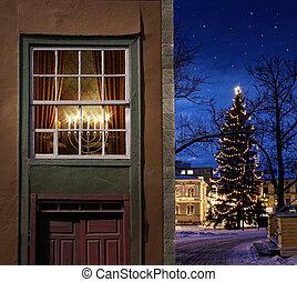 stad, weinig; niet zo(veel), kerstmis, besneeuwd