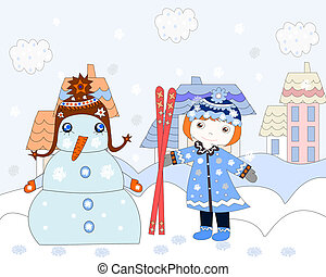 stad, weinig; niet zo(veel), winter, rek, sneeuwpop, skien, meisje