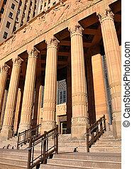 stad, wet, rechtvaardigheidshof, gebouw, met, kolommen