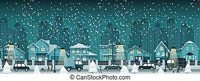 stad, winter, nacht