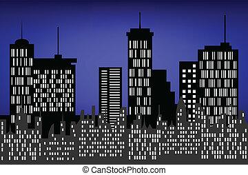 stad, wolkenkrabbers, op de avond