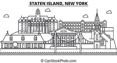 stad, wtih, illustration., lineair, eiland, slagen,...