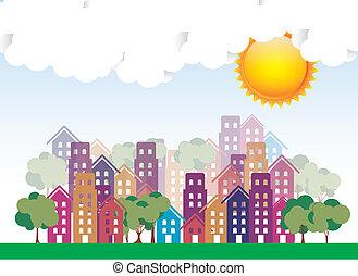 stad, zonnig