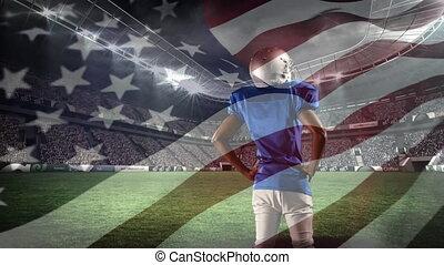 stade, champ, debout, américain, joueur, football