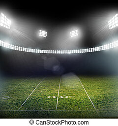 stade, dans, lumières, et, eclats