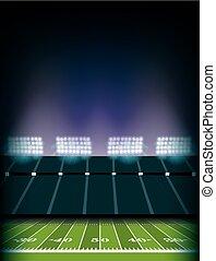 stade, football américain, fond, champ, illustration