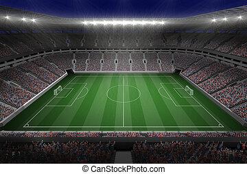stade, football, lumières, grand
