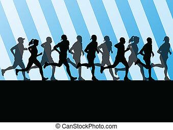 stade, illustration, silhouettes, vecteur, marathon, fond, ...