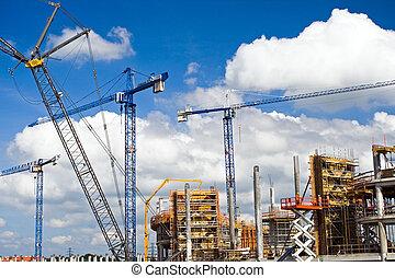 stade, site construction, football