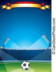 stadio, fondo., vettore, disegno, sagoma, calcio