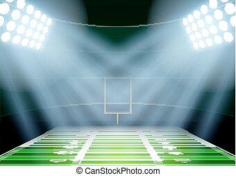 stadio, football, americano, fondo, notte, spotlight.,...