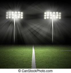 stadio, gioco, notte, luci, su, nero