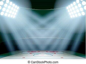 stadio, hockey ghiaccio, fondo, notte, spotlight., manifesti